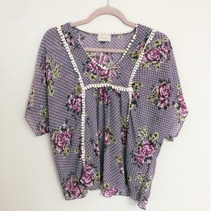 Sheer floral Anthropology top